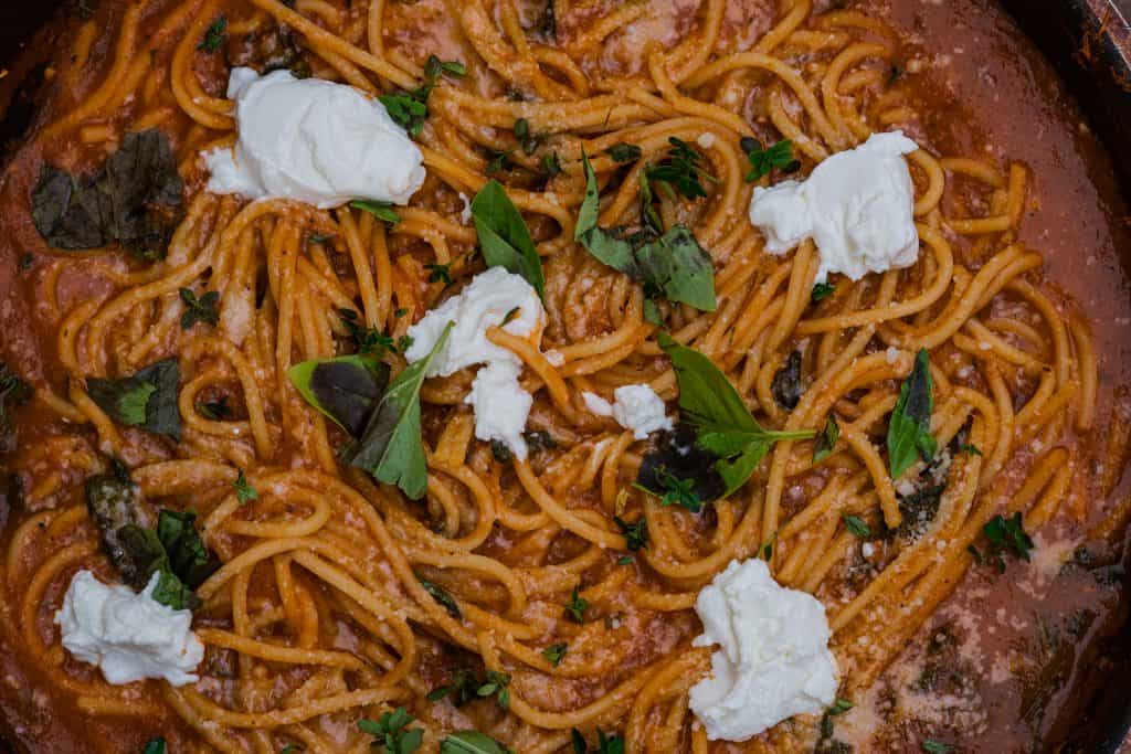 gin tomato spaghetti pasta
